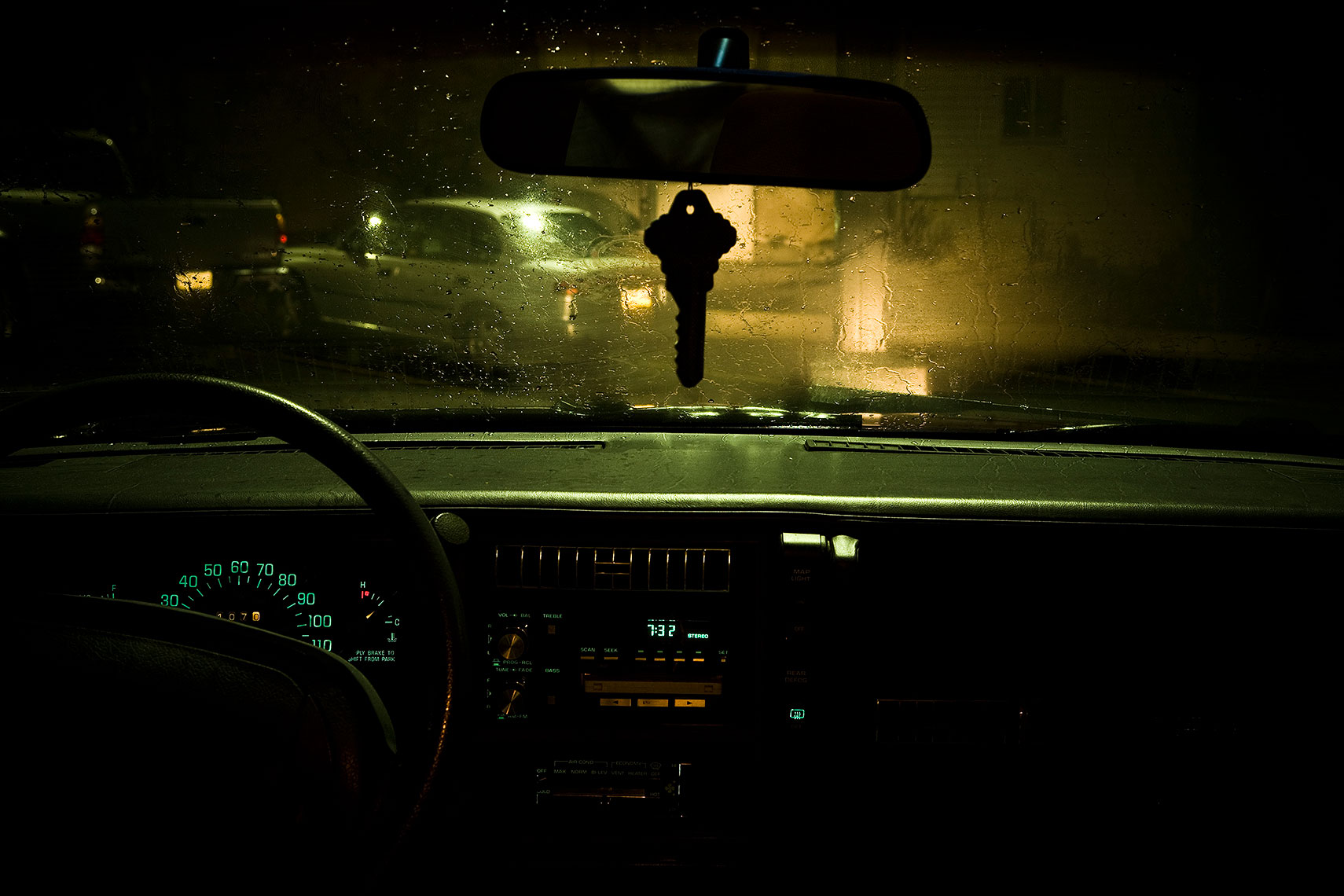 night view from inside old car