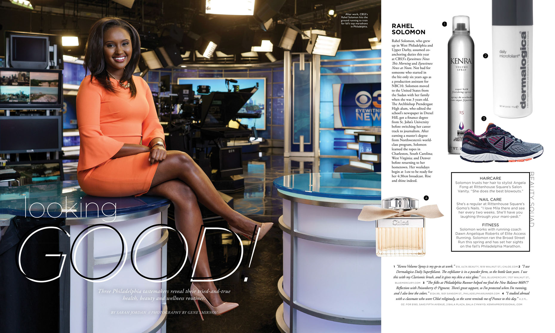 Philadelphia Styke Magazine feature story with Rahel Solomon, CBS3 anchor