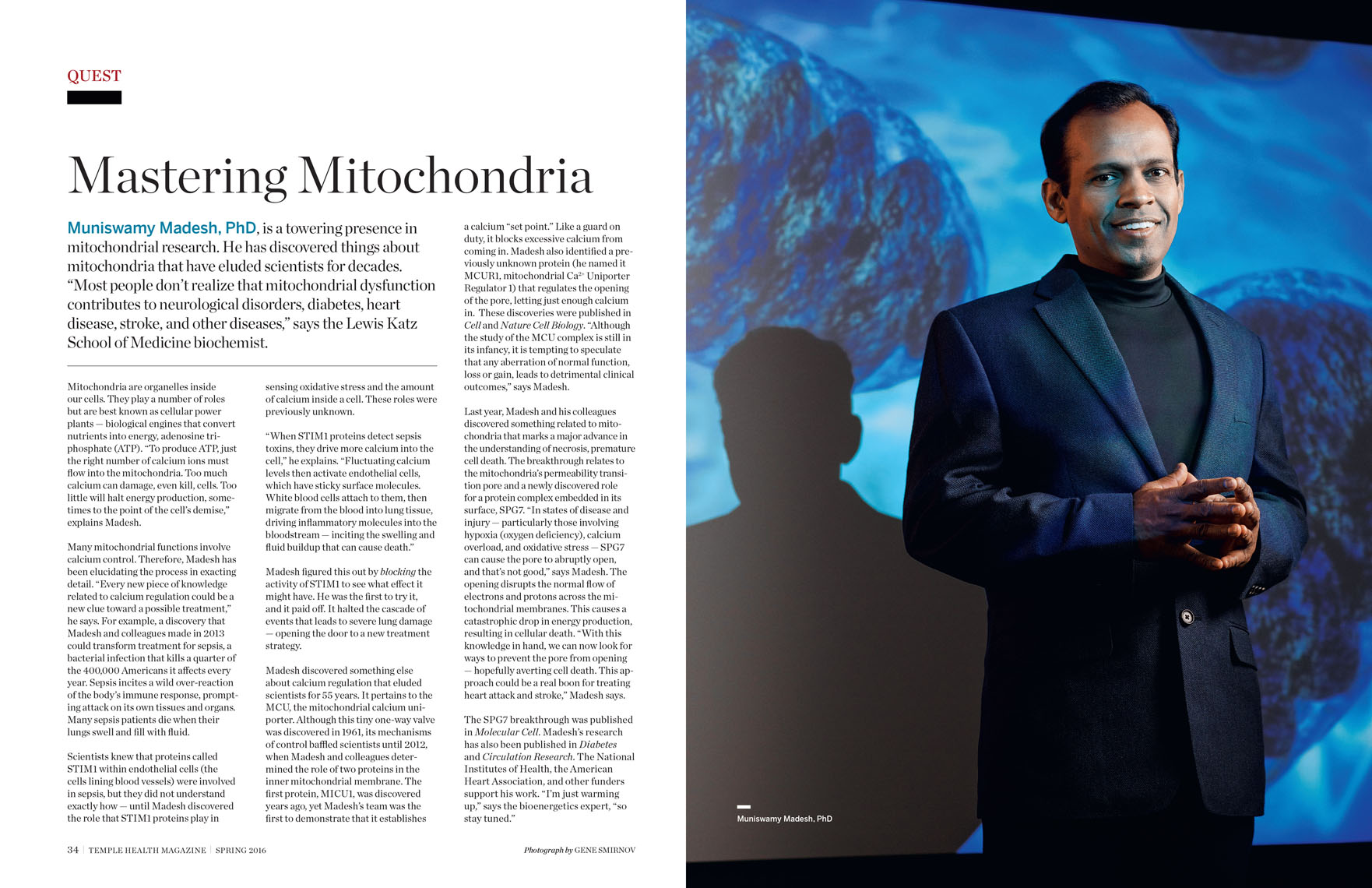 Muniswany Madesh, PhD, environmental portrait for Temple Health Magazine