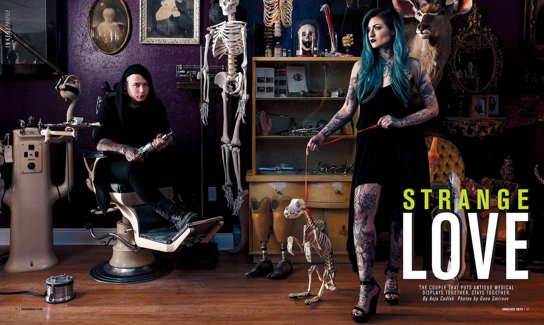 Inked Magazine feature about Strange & Unusual oddities store with their owners, famous tattoo artist Ryan Ashley Malarkey and band member of Motionless in White, Josh Balz