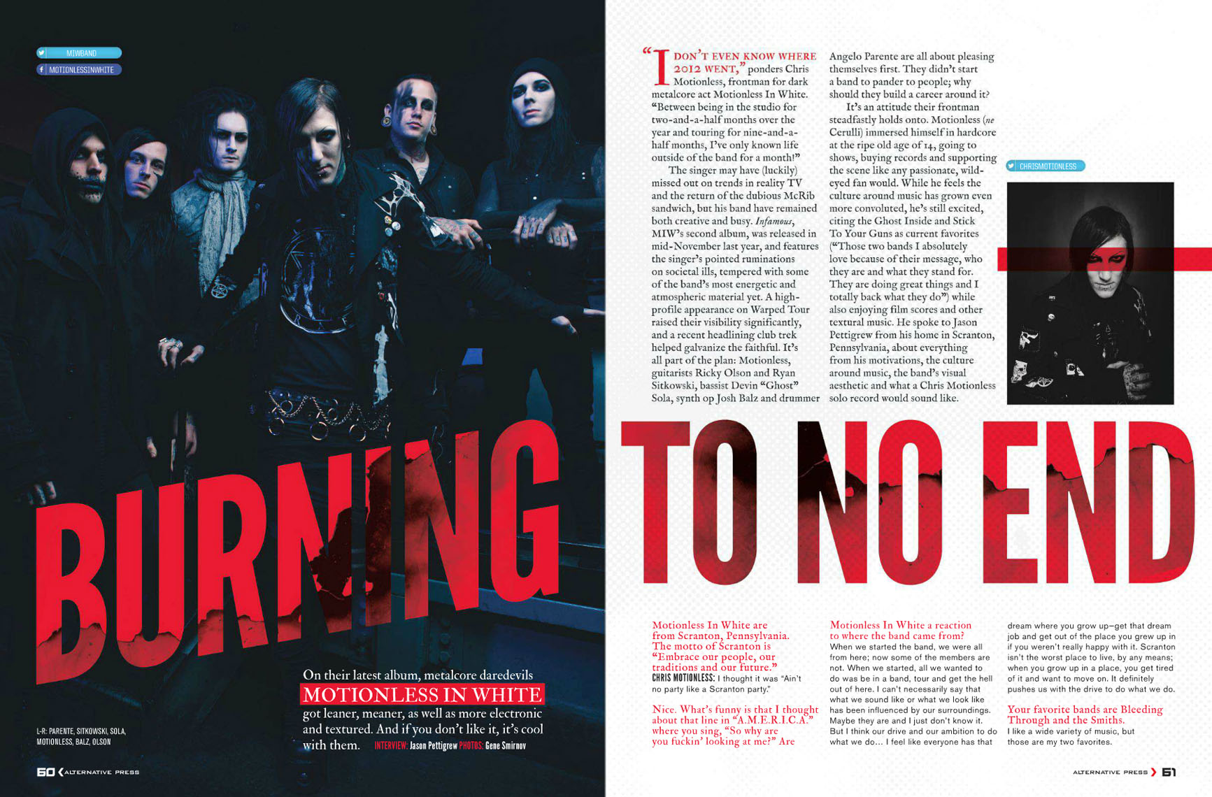 "Motionless in White for Alternative Press featuring Chris ""Motionless"" Cerulli, Ryan Sitkowski, Ricky ""Horror"" Olson, Vinny Mauro, and Justin Morrow"