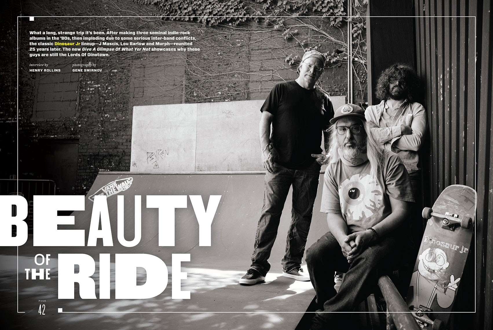 Magnet Magazine feature with Dinosaur Jr. at Vans skate park in Brooklyn
