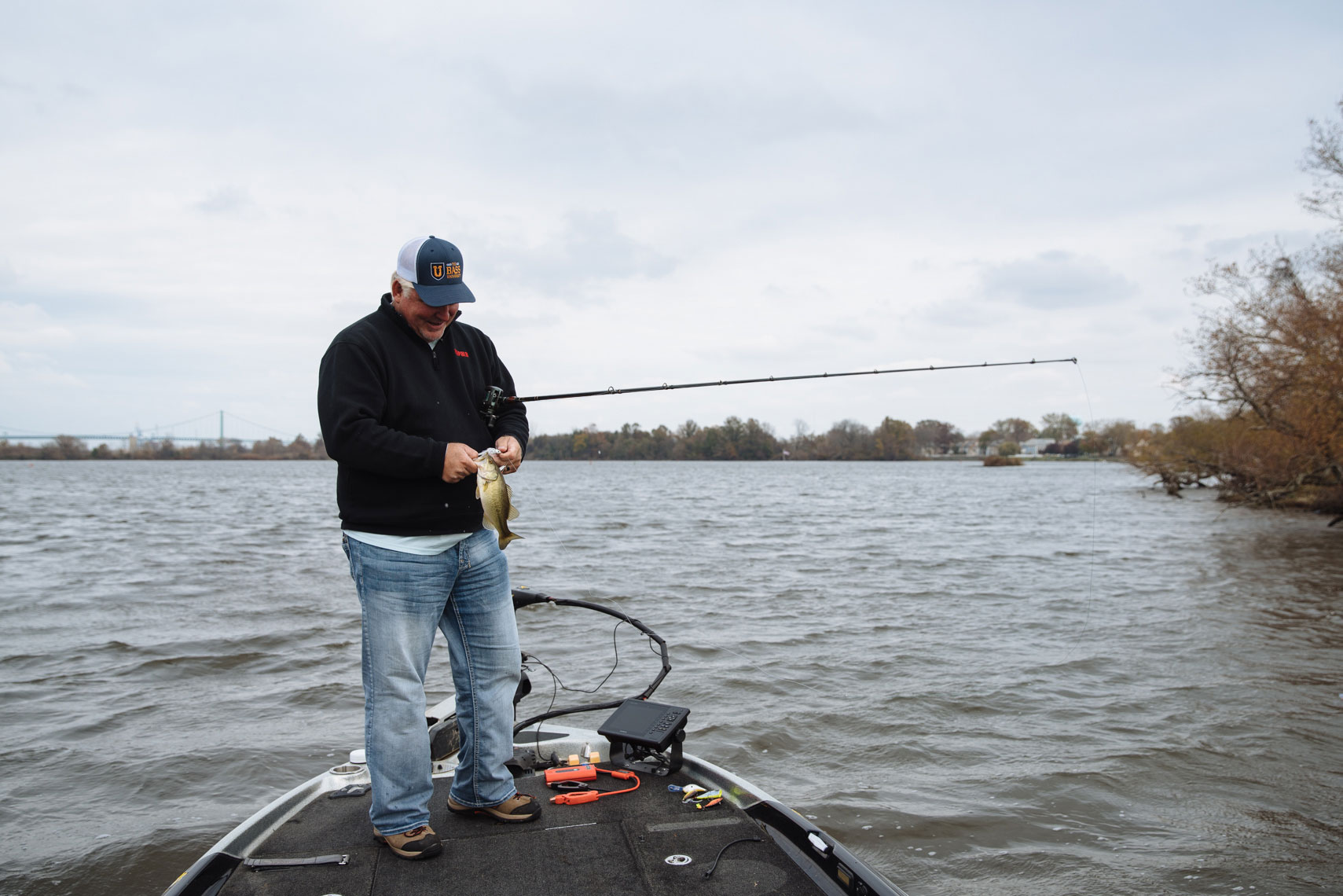 Portable battery in use by a bassmaster