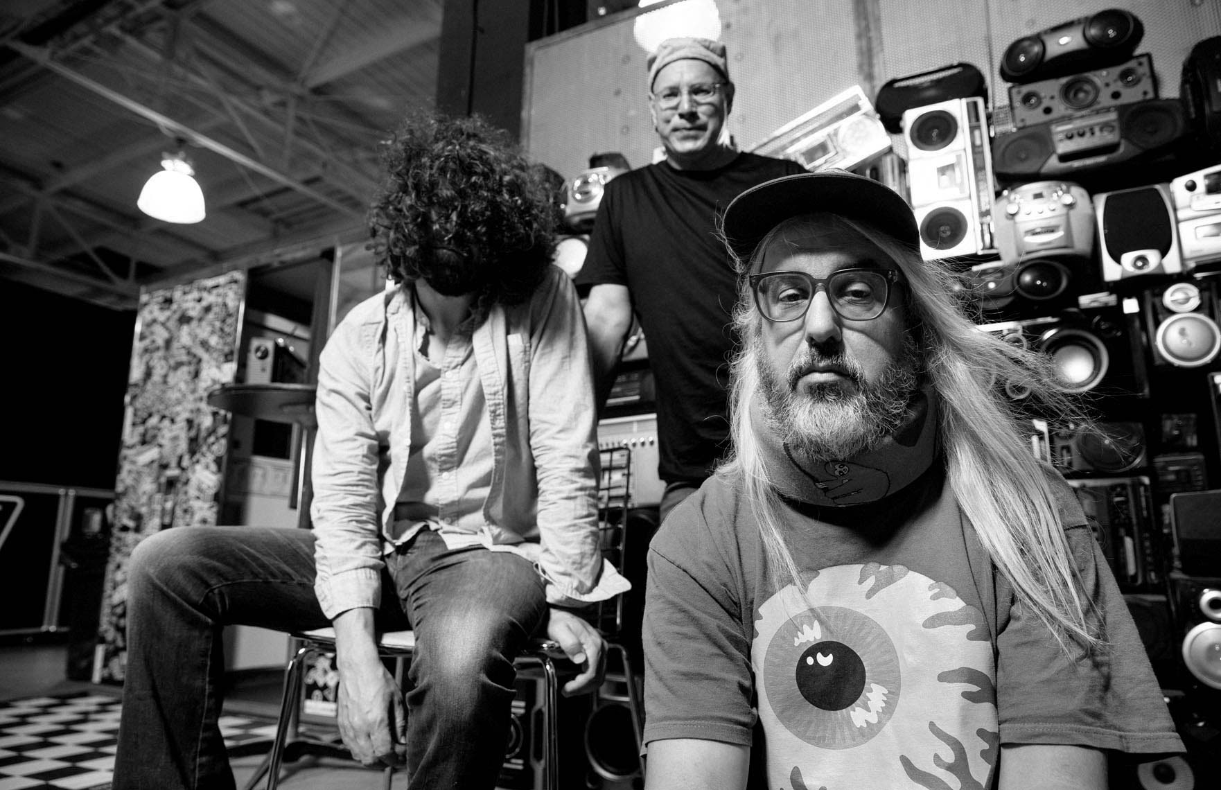 Dinosaur Jr. black and white portrait at Vans skatepark