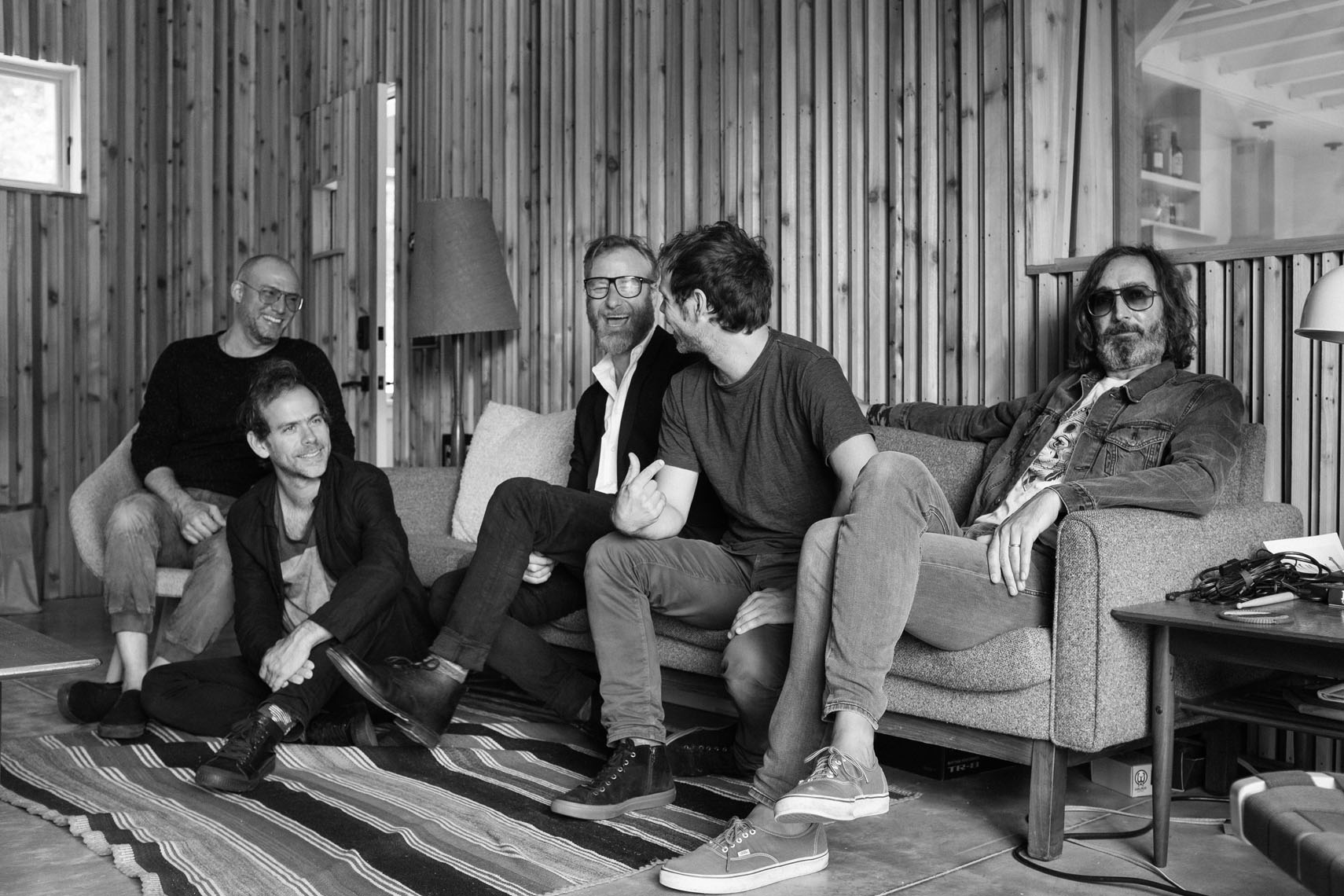 The National at the studio (Matt Berninger, Aaron Dessner, Bryce Dessner, Scott Devendorf and Bryan Devendorf)